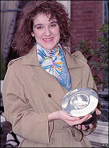 Celine Dion after she won the 1988 contest