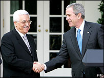 Mahmoud Abbas and President Bush at the White House