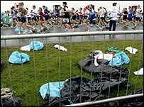 Bin liners are a disposable way to keep warm before the race