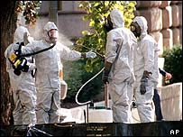 Anthrax inspection on Capitol Hill, Washington in October 2001