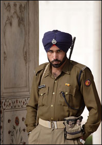 Security guard at the Red Fort, Delhi.