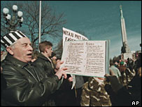 Protesters in Latvia