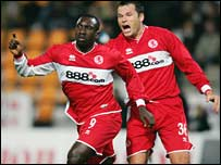 Jimmy Floyd Hasselbaink and Mark Viduka