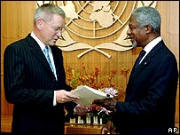 Kofi Annan received the report on Thursday
