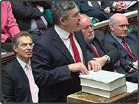 Gordon Brown delivers his budget speech in the House of Commons