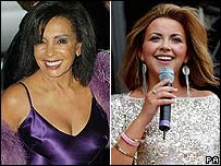 Dame Shirley Bassey (left) and Charlotte Church