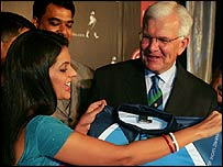 Mandira Bedhi and Malcolm Speed