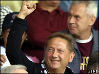 Vladimir Romanov among the fans at Tynecastle