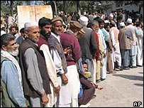 Queuing for a Kashmir bus permit