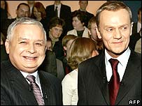 Lech Kaczynski (left) and Donald Tusk