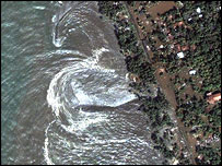 Satellite image of receding waters at Kalutara, Sri Lanka