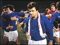Davie Cooper troops after the 1978 League Cup win over Celtic