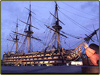 HMS Victory can be seen at Portsmouth's Historic Dockyard