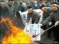 More than 50 South Korean workers of the Independence Hall burn the pictures of Japan's new school history textbook which South Korean believes a seriously distorts Japan's colonial rule, 17/ 3