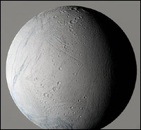False colour image of Enceladus (Nasa/JPL/SSI)