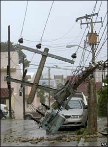 Knocked power lines in Cancun, eastern Mexico
