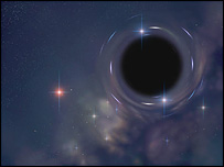 Artist's representation of a black hole, BBC