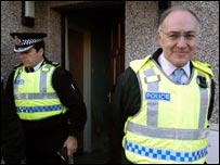 Michael Howard on a police raid