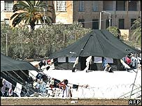 Tents for immigrants in Malta