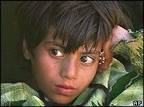 A homeless Kashmiri girl evacuated to Islamabad