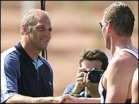 Sir Steve Redgrave congratulates Sir Matthew Pinsent after his Athens victory