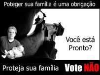 Póster en Brasil en contra de la prohibición de la venta de armas.