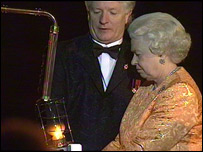 The Queen lit the national beacon at HMS Victory