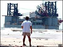 A giant oil rig beached by Hurricane Katrina