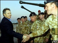 Tony blair greeting UK troops in Iraq