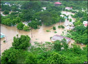 Flooding in the parish of Clarendon, west of Kingston, Jamaica
