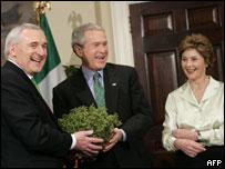 President Bush and Irish Prime Minister Ahern with shamrock