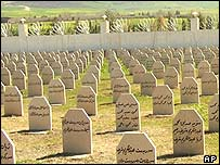 Tombstones at a memorial site for the 1988 bombing of Halabja