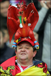A Wales fan at the match with France in Paris