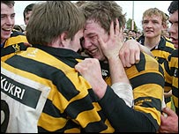 Inst celebrated a 12-10 win over Methody in the 2005 Renault Ulster Schools' Cup final