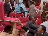 Somali MPs fighting with chairs (Pictures from KTN)