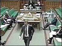 Adam Price leaving the floor of the Commons