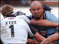 Blues lock Craig Quinnell charges into the Leeds defence