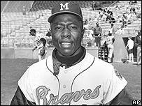 Hank Aaron, quien en los a�os 60 jug� con los Bravos de Milwaukee.