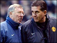 Manchester United manager Sir Alex Ferguson (left) with assistant Carlos Queiroz