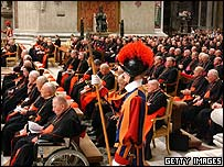 Cardinals and bishops at the Eucharistic Adoration during the synod at St Peter's Basilica