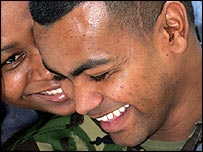 Private Johnson Beharry with his wife Lynthia