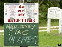 Sign in the Everglades, Florida, warning people to evacuate