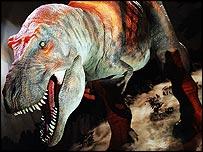 The animatronic Tyrannosaurus rex