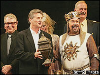 Director Mike Nichols (l), Michael Palin, Tim Curry and John Cleese