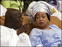 Stella Obasanjo with her husband, Nigeria's President Olusegun Obasanjo, in Oct 2005