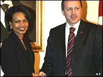 US Secretary of State Condoleezza Rice with Turkish Prime Minister Recep Tayyip Erdogan