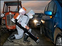 Croatian official disinfecting car