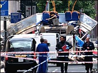 Scene of the bomb attack in Tavistock Square, London
