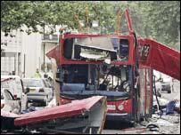 Bus after the blast in Tavistock Square, London