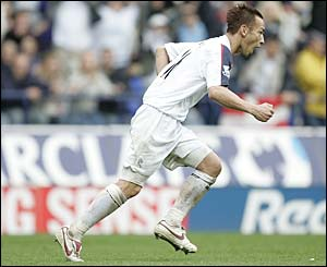 Hidetoshi Nakata is ecstatic after scoring his first goal for Bolton
